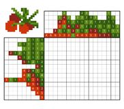 Paint by number puzzle nonogram, Cranberries. Paint by number puzzle nonogram, education game for children, Cranberries Royalty Free Stock Image