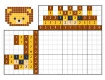 Paint by number puzzle nonogram, Lion. Paint by number puzzle nonogram, education game for children, Lion Stock Image
