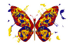 Paint and painbrush made conceptual butterfly Stock Image
