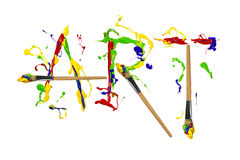 Paint and painbrushes painted word art Royalty Free Stock Images