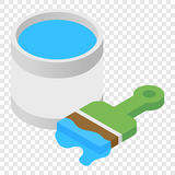 Paint and paint brush isometric 3d icon. On transparent background Stock Photo