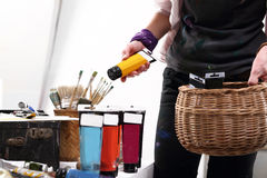 Paint and painting accessories Stock Photos