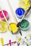 Paint for painting in cans and composition Royalty Free Stock Photos