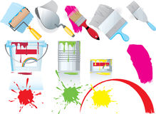 Paint and painting icons. A collection or set of illustrated icons related to plastering and painting Stock Image