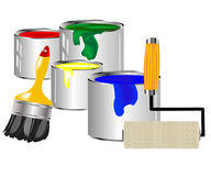 Paint and painting tools vector illustration