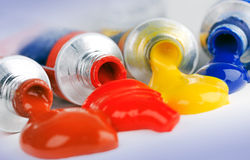 Paint and Paints tubes. Macro image of tubes of paint with paint stock images