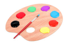 Paint Palette. Artist's Palette and a Paintbrush Stock Image