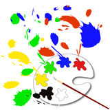 Paint palette. And a brush Stock Photo