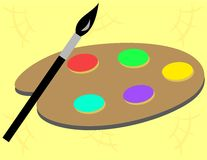 Paint Palette and Brush Royalty Free Stock Photography