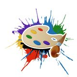 Paint, palette and brush. Vector image of paint, palette and brush royalty free illustration