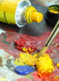 Paint palette. Brush and colors Stock Photo