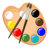 Paint palette with brushes,  illustration. Wooden paint palette with brushes,  illustration Royalty Free Stock Photo