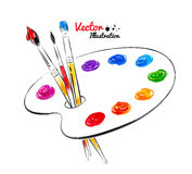 Paint palette. Hand drawn watercolor and line art. Vector illustration. isolated vector illustration