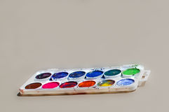 Paint Palette. Used water-color paint-box with gray background Royalty Free Stock Images