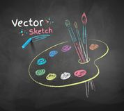 Paint palette. Vector color chalk drawing of paint palette royalty free illustration