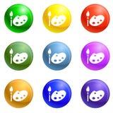 Paint pallete icons set vector stock illustration