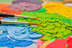 Paint on pallette Royalty Free Stock Photography