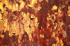 Corrosion. Paint peeling from rusty metal plate Royalty Free Stock Photos