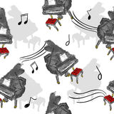Paint Piano Seamless Pattern Art. Design Stock Images