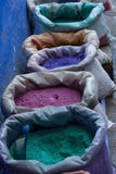 Paint pigments. In sacks on the streets of Chefchaouen, Morocco Royalty Free Stock Photos