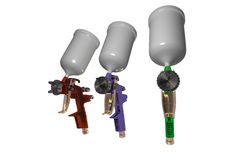 Paint pistol 3d. Three paint-spraying . pistol for painter work . type of hvlp (high volume low pressure ) It is made 3d Royalty Free Stock Image