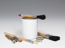 Paint Pot And Set Of Paintbrushes Stock Image