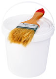 Paint pot and brush Stock Photos