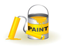 Paint pot and roller Royalty Free Stock Images