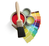 Paint pot and swatches Stock Photo