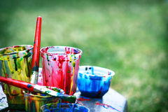 Paint pots Royalty Free Stock Photography