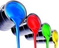 Paint pots. 3D illustration of paint pots Royalty Free Stock Images