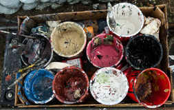 Paint pots Stock Photo