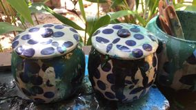Paint in pots stock footage