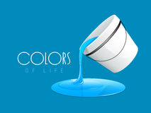Paint pouring out from bucket. Blue color paint pouring out from paint bucket and stylish text of Colors on sky blue color background Royalty Free Stock Photo