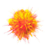 Paint powder color explosion on black background. Paint powder color dust explosion isolated on white background. Red and yellow fire paint coloured explode for stock photos