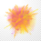 Paint powder color explosion on transparent background. Paint powder explosion on transparent background. Purple dust explode for celebration or holiday design Stock Photography
