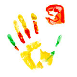 Paint print of human hand Royalty Free Stock Photography