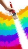 Paint raimbow with brush Stock Image