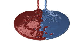 Paint Red and Blue Leakage, reveling, Alpha, stock footage royalty free illustration