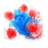 Paint red, blue splash ink blot and white abstract art brushes. Isolated stock photography