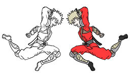 Paint red ninja Stock Photography