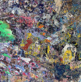 Paint remains grunge wall background in many colors Stock Photos