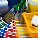 Paint repair on the architectural plan Stock Photo