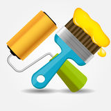 Paint roll and brush icon vector illustration Stock Photos