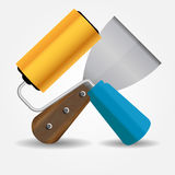 Paint roll and spatula icon vector illustration Stock Image