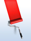 Paint roller. And red paint stripe. Digital illustration, clipping path included Royalty Free Stock Photography