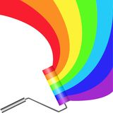 Paint roller. Multicolored paint roller painting semicircular rainbow Stock Photography