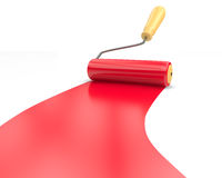 Paint roller. And red paint stripe Stock Images