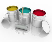Paint and roller. Open bucket with color paint and roller Royalty Free Stock Photography