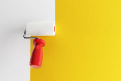 Paint roller. Painting a wall, 3d render Royalty Free Stock Photography